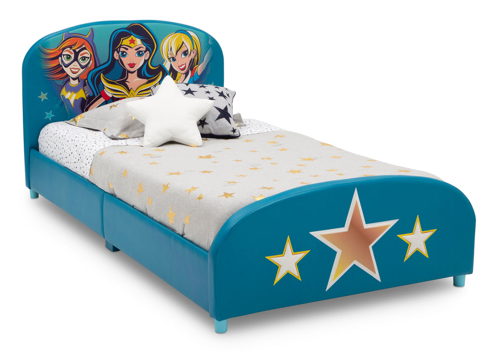 Delta Children DC Superhero Girls Upholstered Twin Bed, Right Silo View