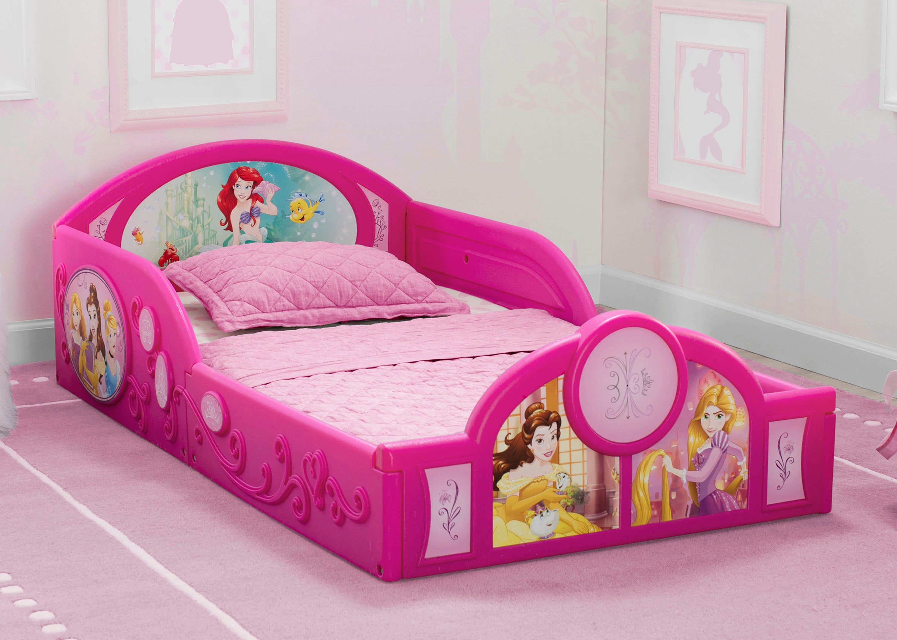 Princess Deluxe Toddler Bed With Attached Guardrails Delta Children