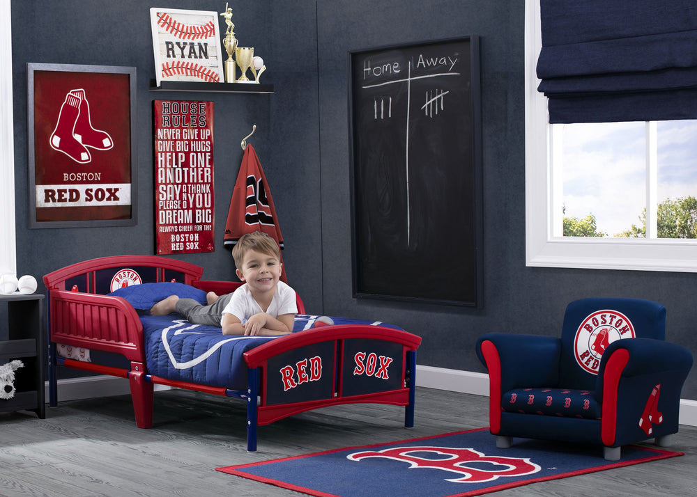 Delta Children Boston Red Sox Plastic Toddler Bed Room Shot a0a