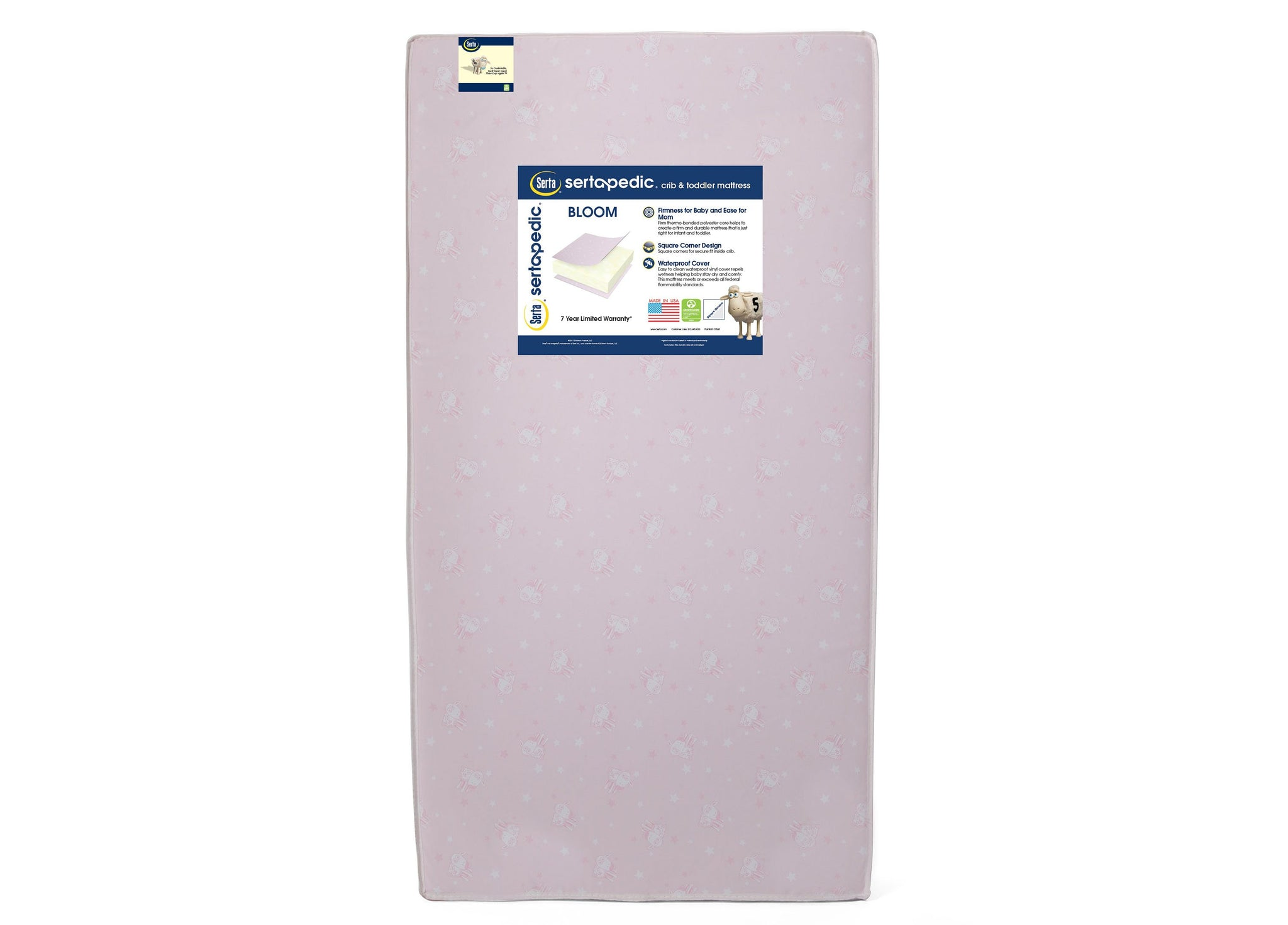 Sertapedic® Bloom Crib and Toddler Mattress (A41103-3190-NO), front view, a4a No Color (NO)