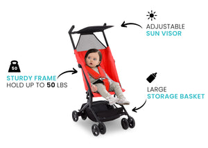 Delta Children Ultimate Fold N Go Compact Travel Stroller Red (2023), Sturdy frame graphic a3a