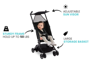 Delta Children Ultimate Fold N Go Compact Travel Stroller Black (001), Sturdy frame graphic a3a