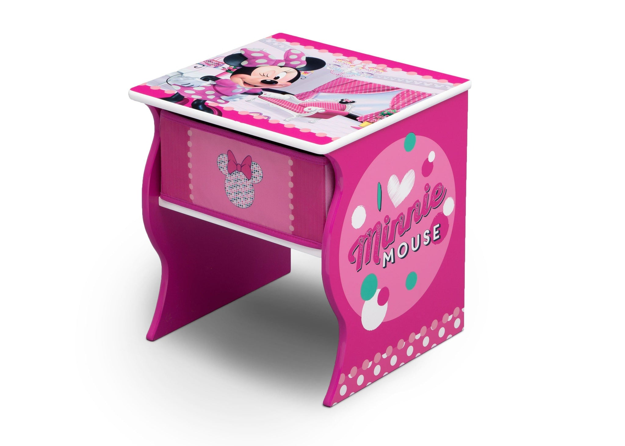 Delta Children Minnie Mouse (1063) Side Table with Storage, Left Angle, a2a