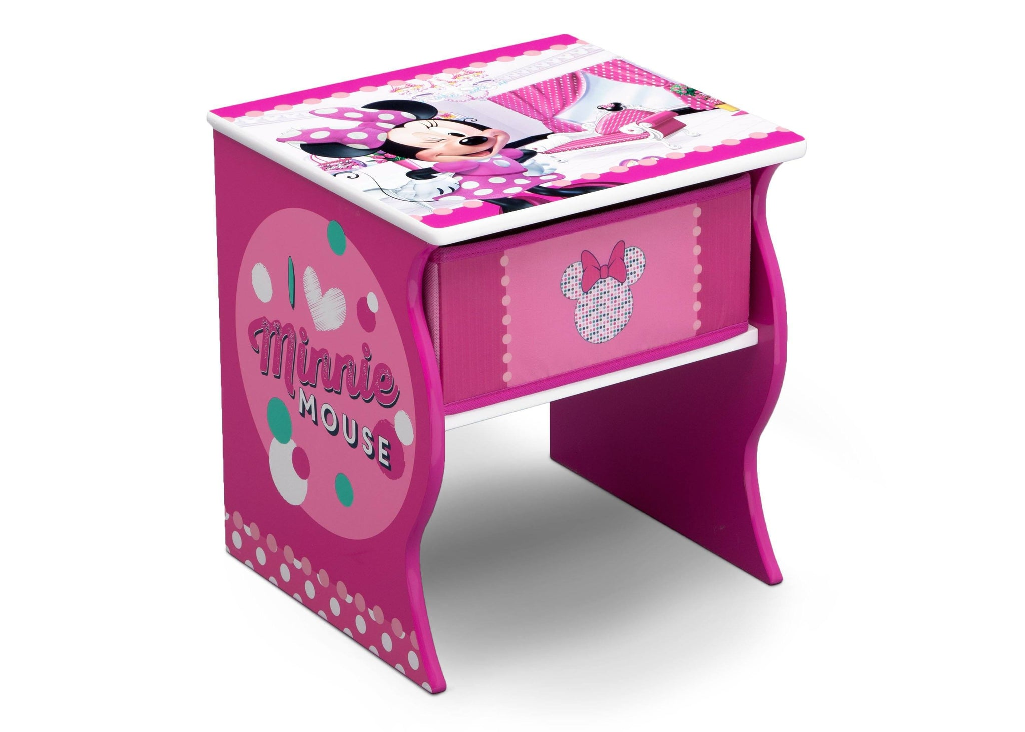 Delta Children Minnie Mouse (1063) Side Table with Storage, Right Angle, a1a
