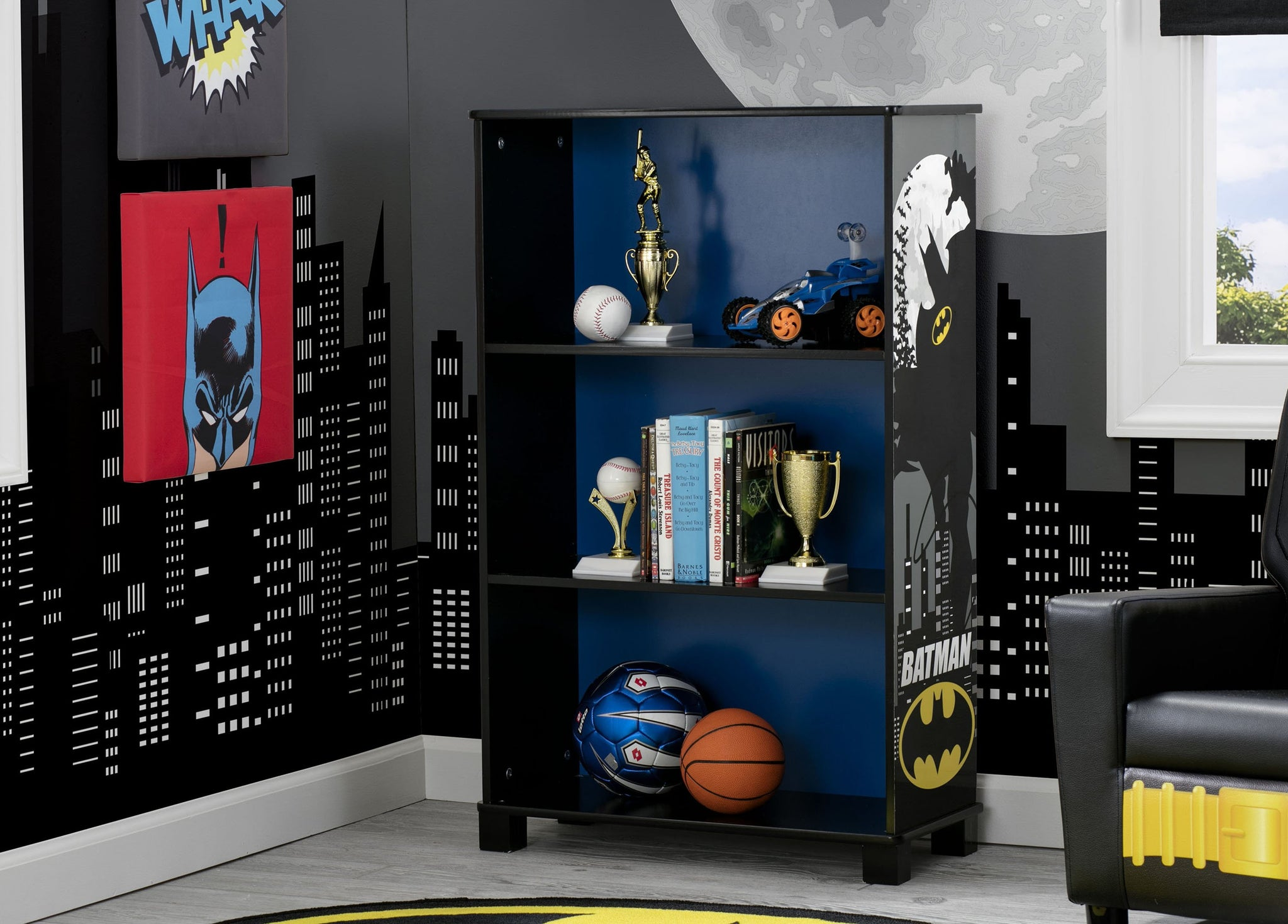 Delta Children Batman (1200) Batman Deluxe 3-Shelf Bookcase (FL86731BT), Hangtag, a1a