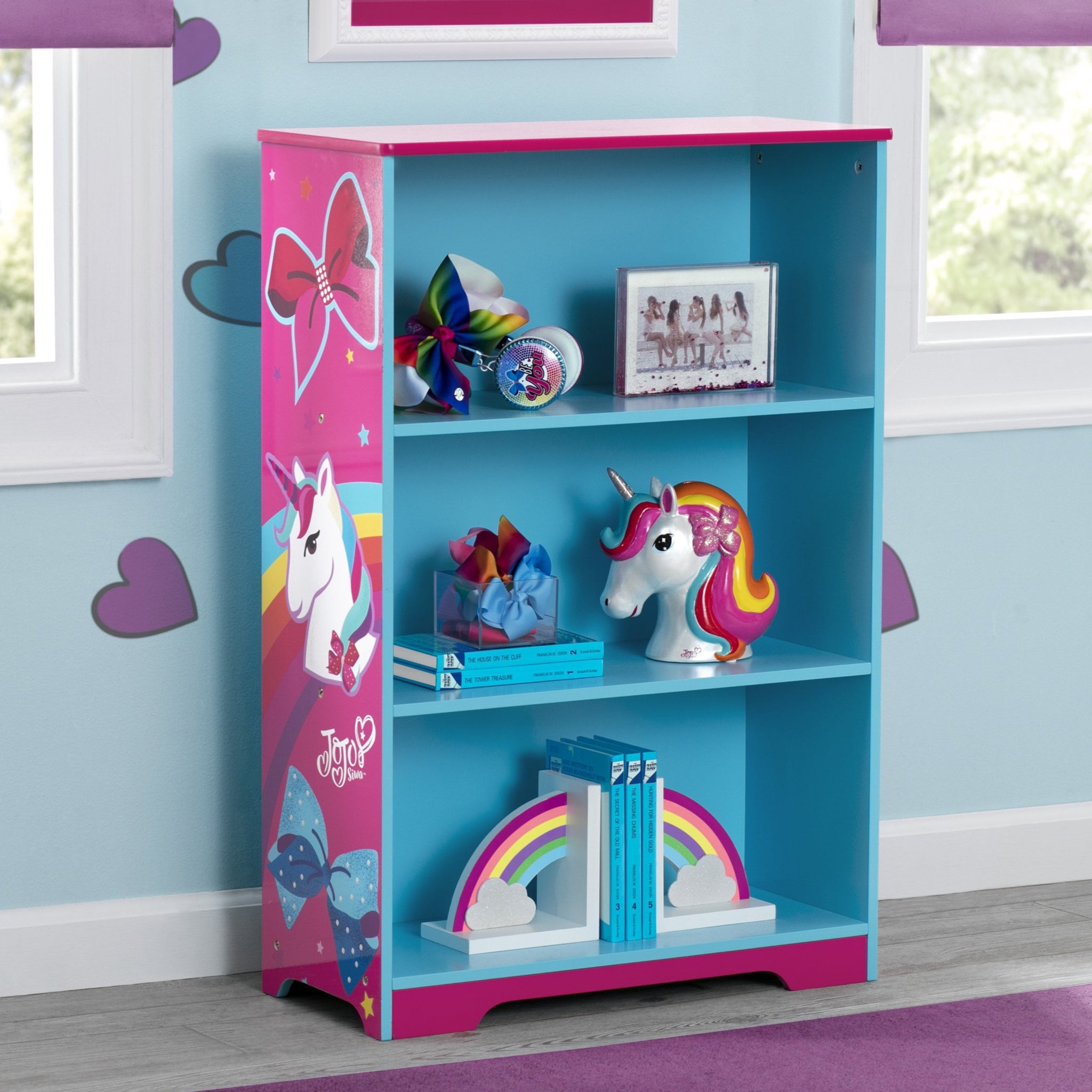 Delta Children JoJo Siwa Deluxe 3-Shelf Bookcase, Hangtag View