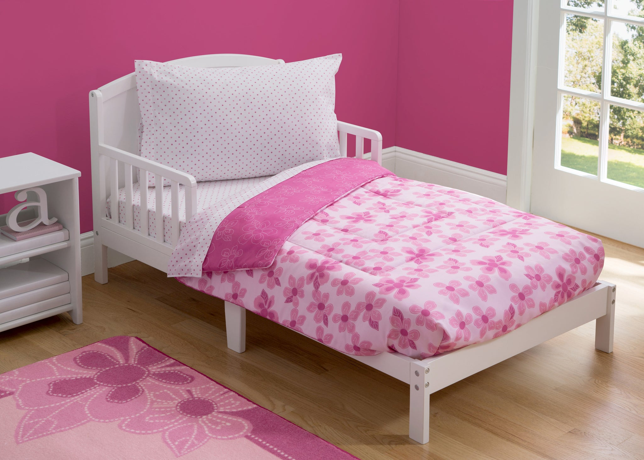 Girl 4-Piece Toddler Bedding Set, Floral and Polka Dot (2000) a1a