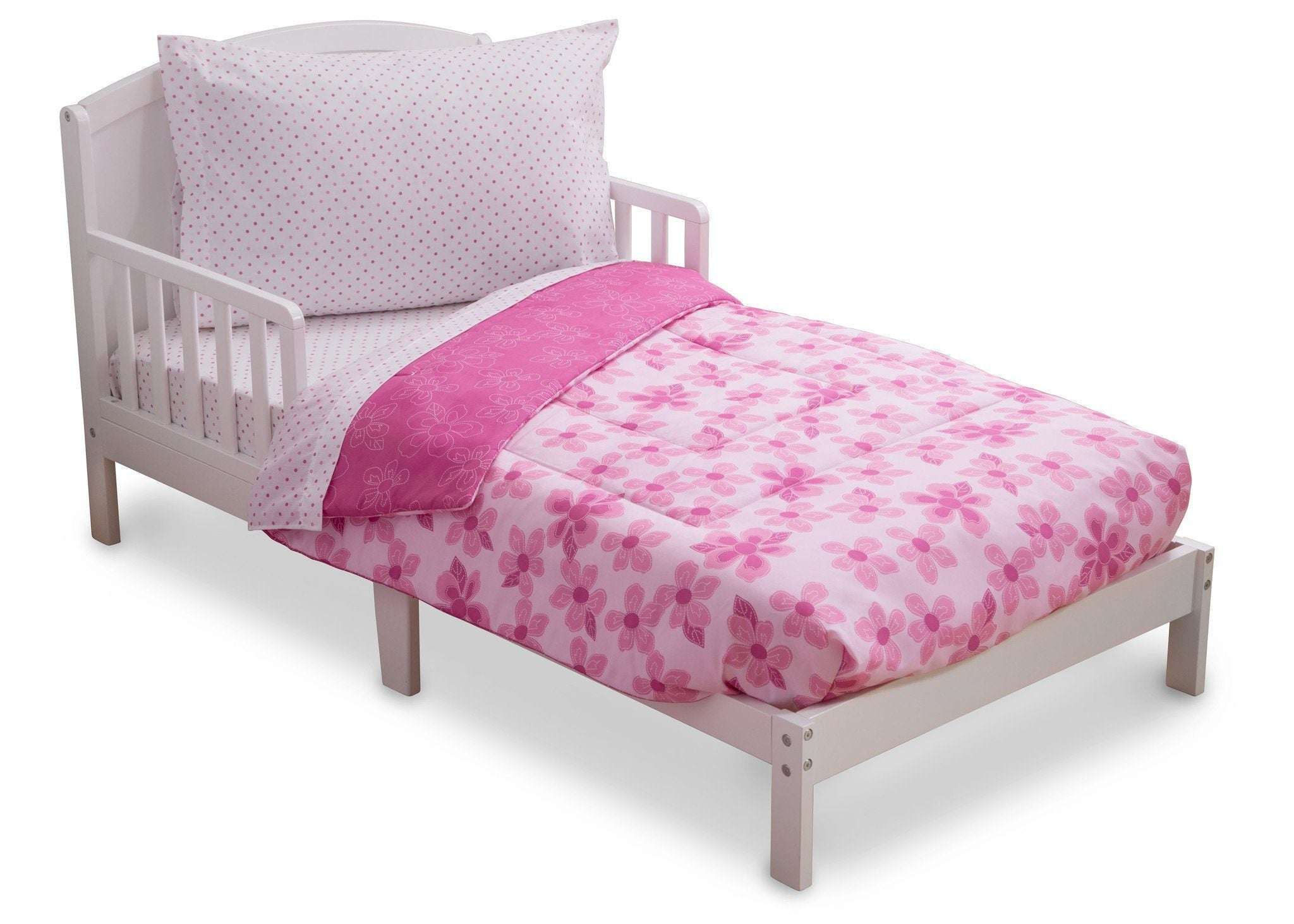 girl 4 piece toddler bedding set floral and polka dot 2000 a3a - Toddler Bed Sets