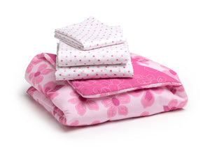 Girl 4-Piece Toddler Bedding Set, Floral and Polka Dot (2000) a4a