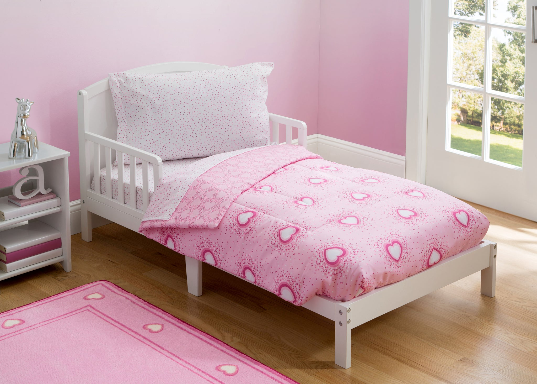 Girl 4-Piece Toddler Bedding Set, Hearts & Sprinkles (2002) b1b