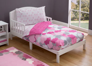 Girl 4-Piece Toddler Bedding Set, Pink Clouds (2003) c1c