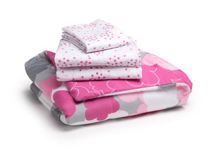 Girl 4-Piece Toddler Bedding Set, Pink Clouds (2003) c4c
