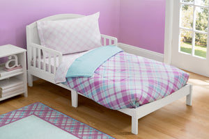 Girl 4-Piece Toddler Bedding Set, Plaid and Gingham (2004) d1d