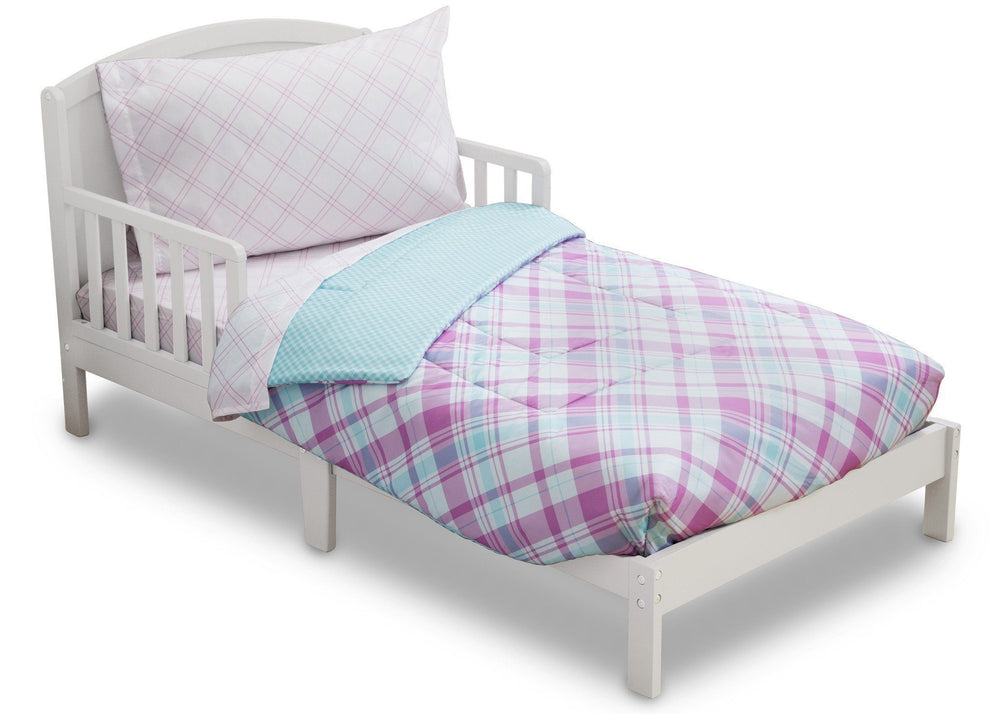 Girl 4-Piece Toddler Bedding Set, Plaid and Gingham (2004) d3d