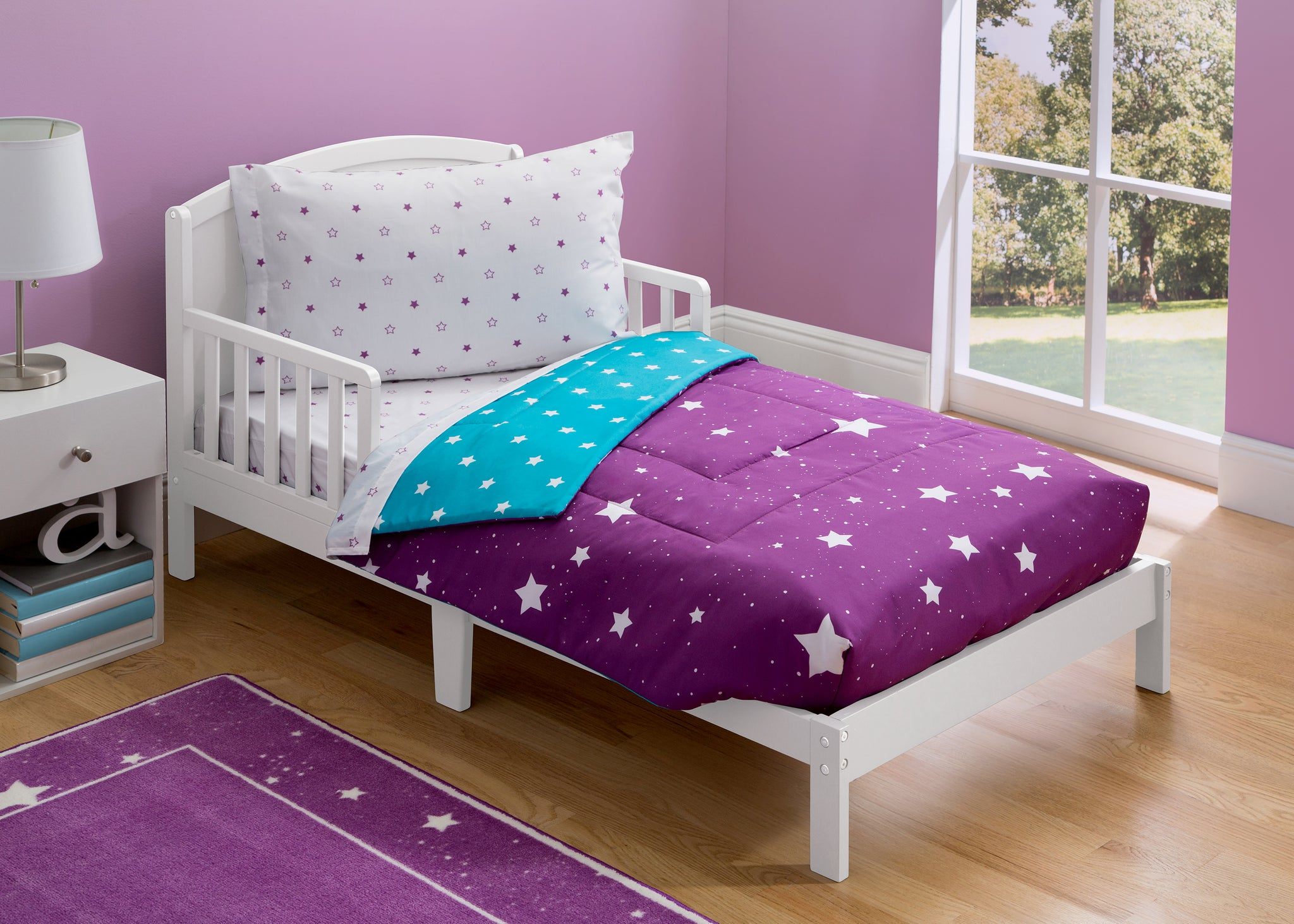 Girls Soft Kids Area Rug, Purple Starry Night (2005) e1e