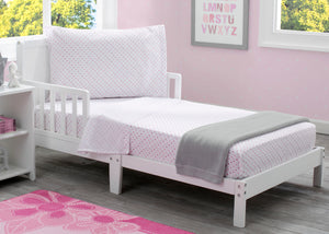 Girls 3-Piece Toddler Sheet Set, Pink Polka Dots (2000) b1b