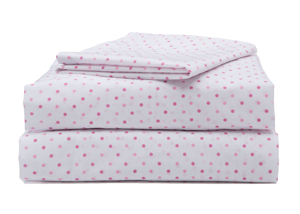 Girls 3-Piece Toddler Sheet Set, Pink Polka Dots (2000) b4b