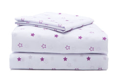 Girls 3-Piece Toddler Sheet Set, Purple Stars (2005) a4a