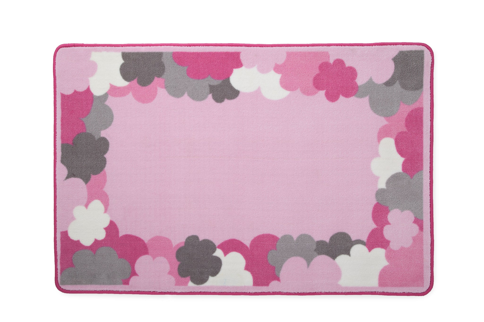 Girls Soft Kids Area Rug, Pink & Grey Clouds (2003) e2e