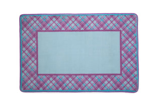 Girls Soft Kids Area Rug, Purple Pink & Turquoise Plaid (2004) c2c