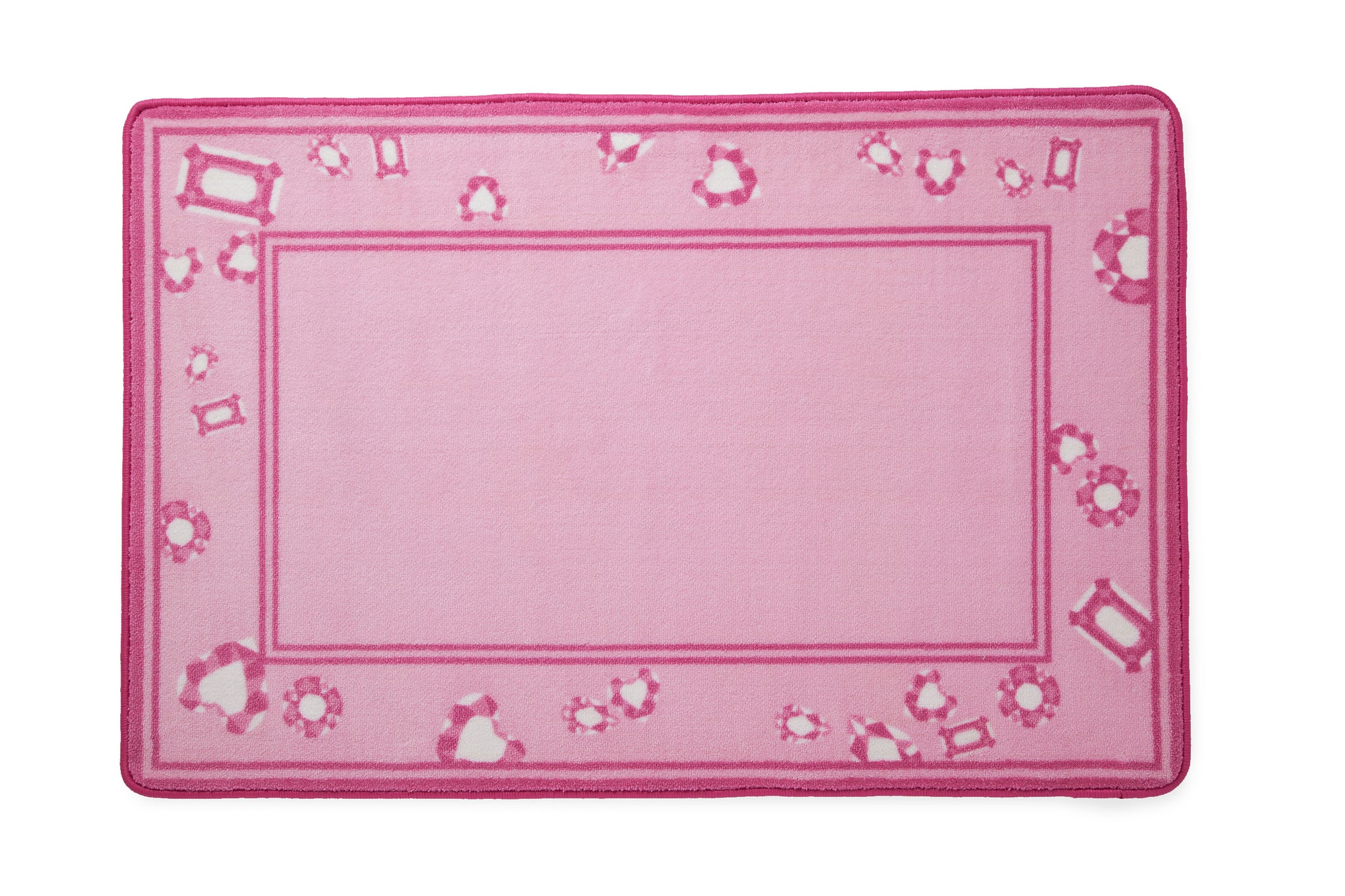 Girls Soft Kids Area Rug, Pink Princess & Jewels (2008) f2f