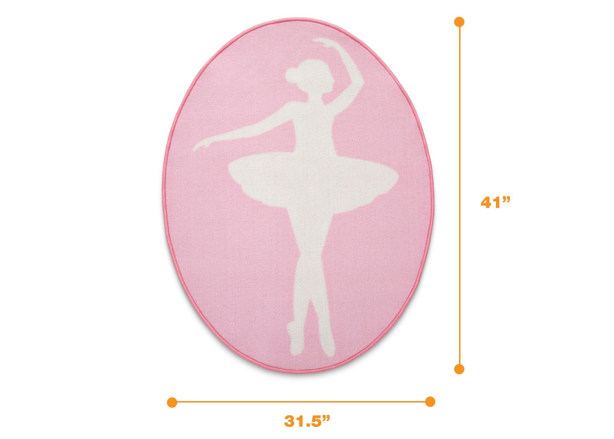 Delta Children Ballerina (3007) Non-Slip Area Rug for Boys, Measured View