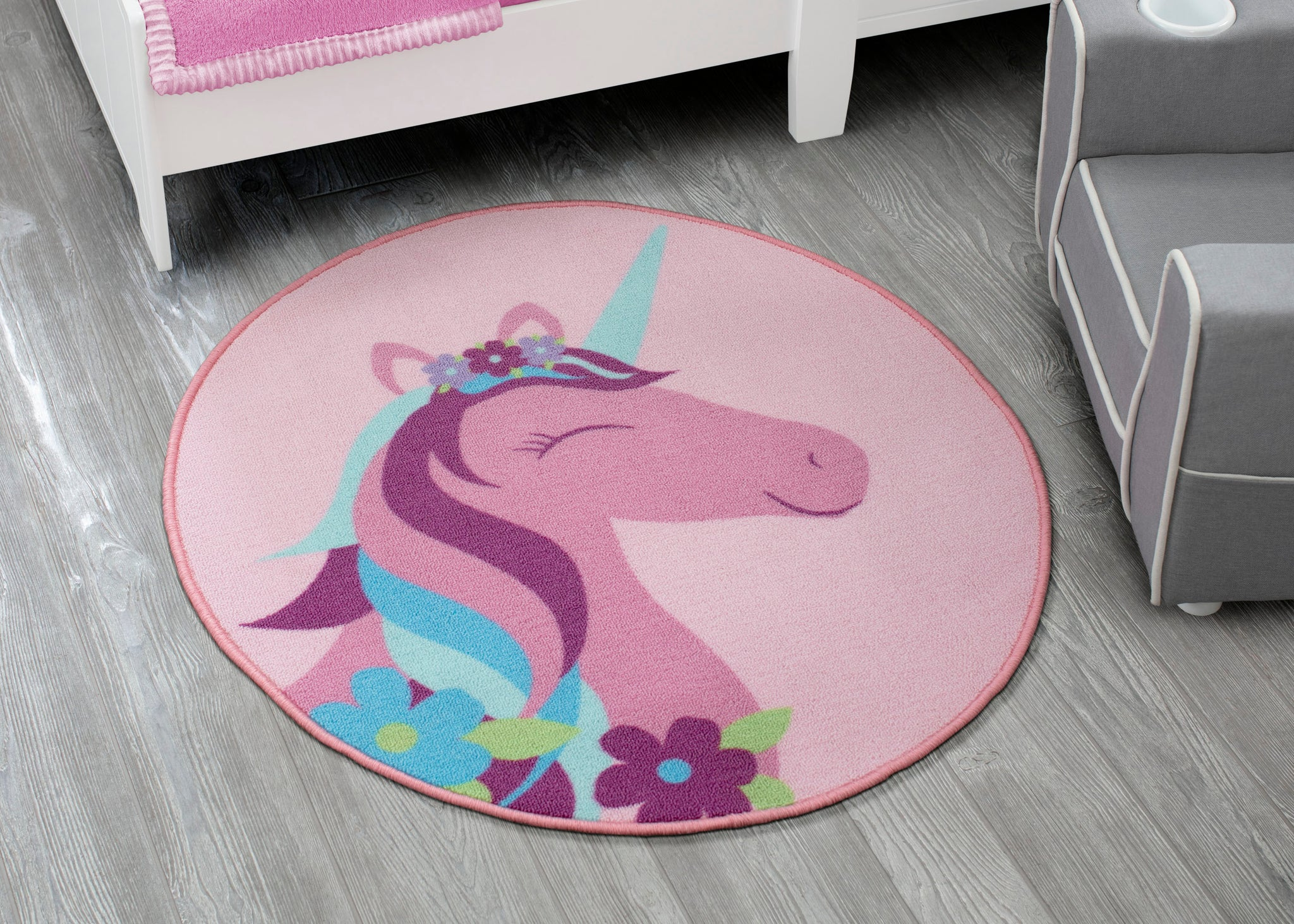 Delta Children Unicorn (3011) Non-Slip Area Rug for Boys, Hangtag View