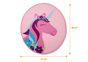 Delta Children Unicorn (3011) Non-Slip Area Rug for Boys, Measured View