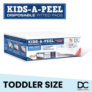 Kids-A-Peel Disposable Fitted Sheets, 6-Pack, Waterproof, Breathable Soft Bed Pads that Protect Your Mattress