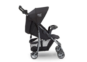 Little Folks Black (001) Classic Tour Stroller by Delta Children, Side Silo View