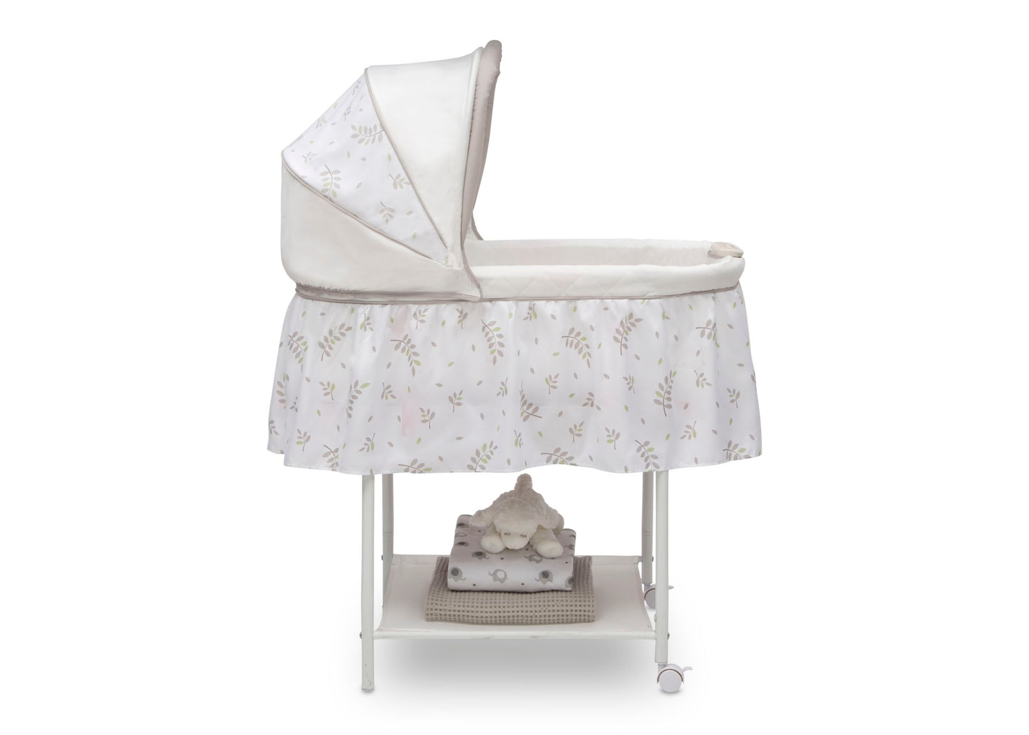 Little Folks Willow (2162) Silent Auto Gliding Bassinet by Delta Children, Side Silo View