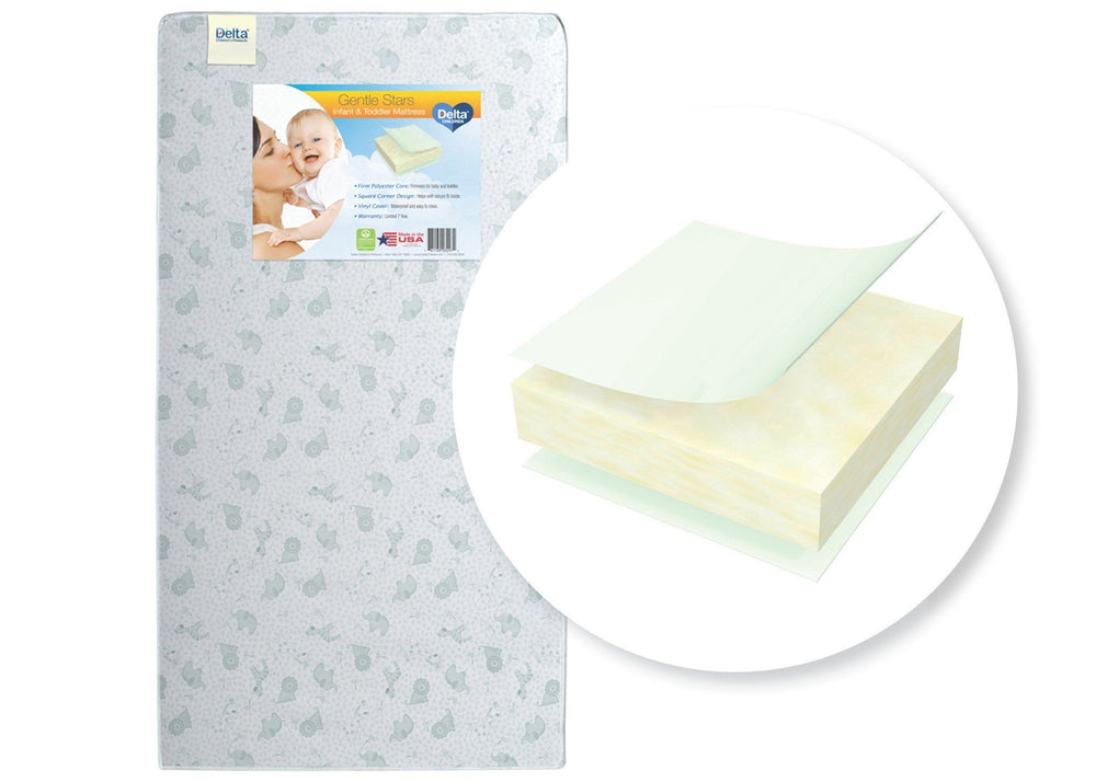 Delta Children Gentle Stars Crib and Toddler Mattress Front View a1a