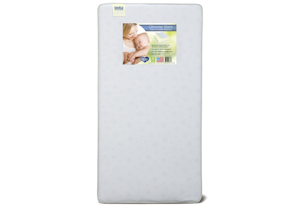 Delta Children Glimmer Stars Crib and Toddler Mattress Front View a3a