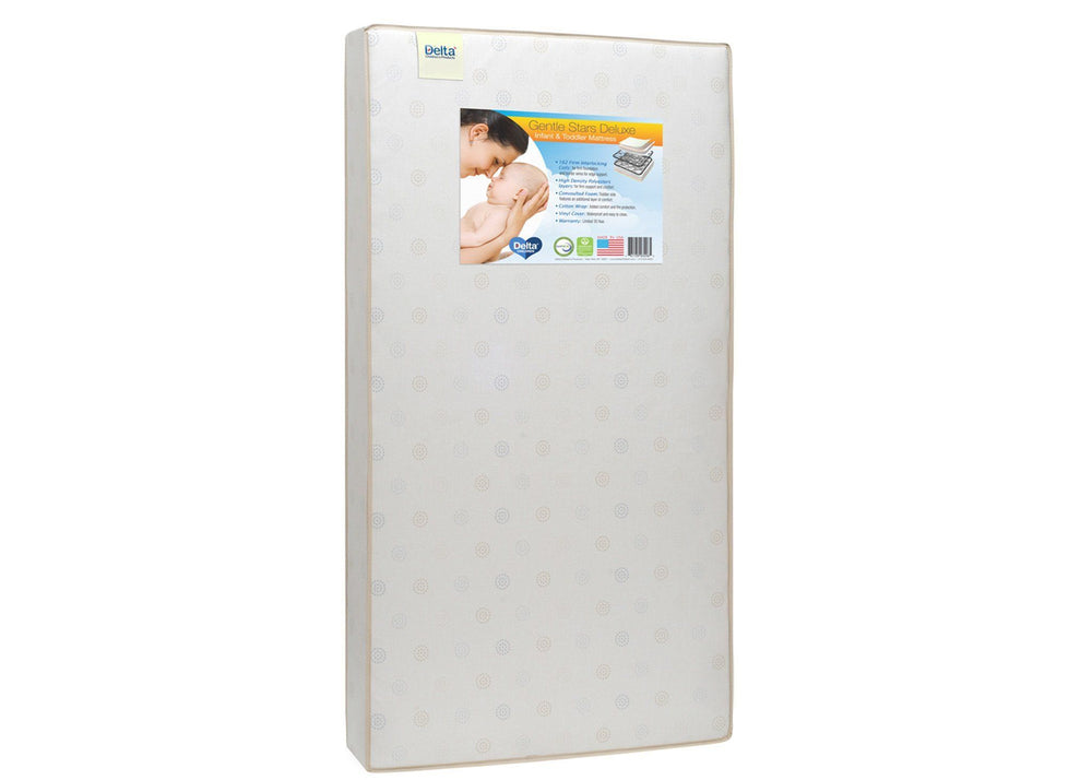 Delta Children Gentle Deluxe Stars Crib and Toddler Mattress Front View a3a