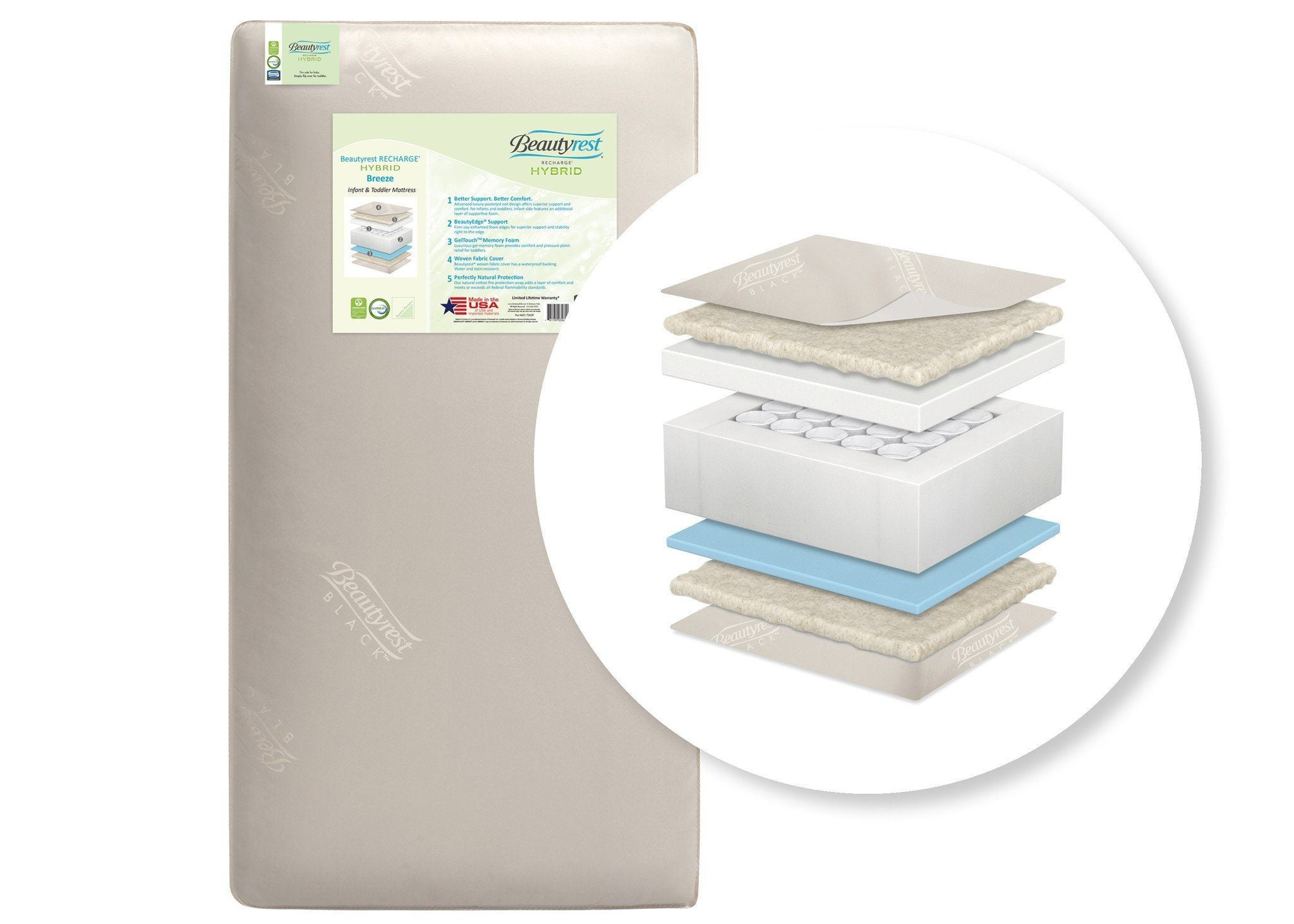 Simmons Kids Beautyrest® RECHARGE® HYBRID Breeze Infant & Toddler Mattress Cutout View a2a