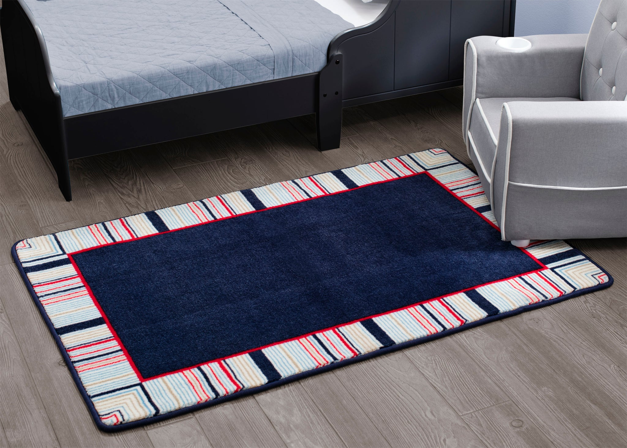 Boys Soft Kids Area Rug, All-American Stripes Red Blue & Tan (2200) a2a