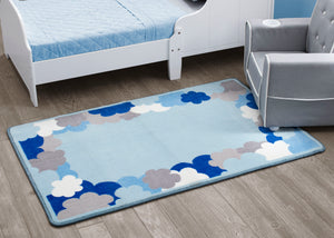 Boys Soft Kids Area Rug, Blue White & Grey Clouds (2203) d2d