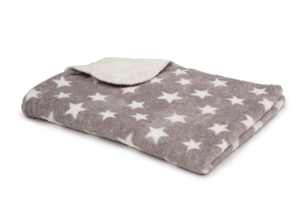 Delta Children Soft Fleece Baby Blanket for Strollers Grey Stars (4006) Folded Right View a2a