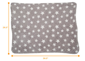 Delta Children Soft Fleece Baby Blanket for Strollers Grey Stars (4006) Measured View a4a