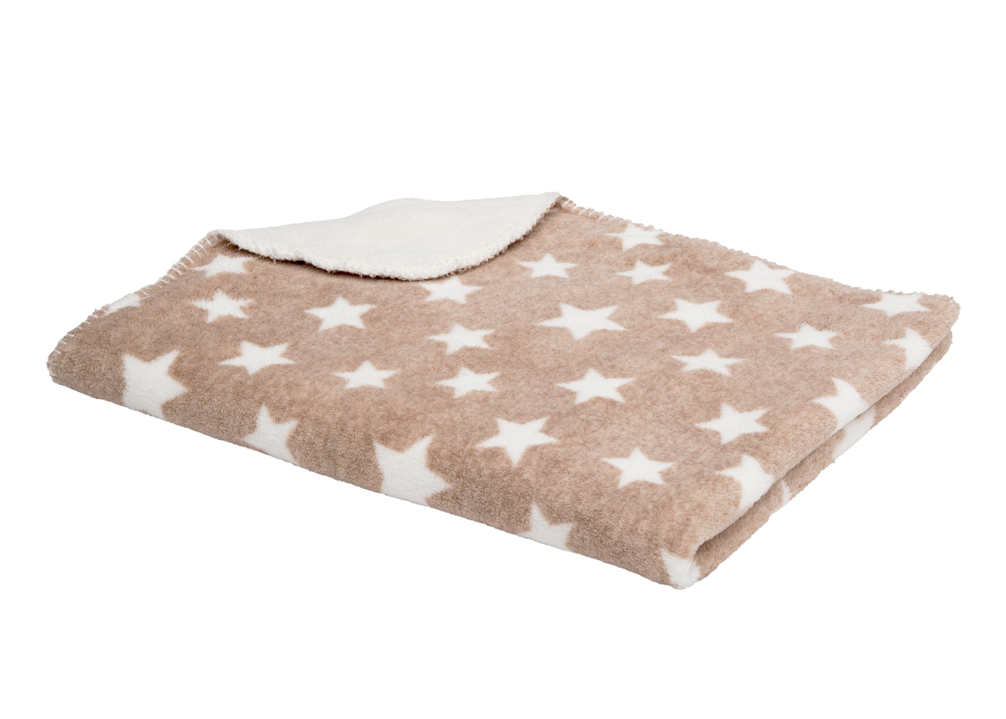 Delta Children Soft Fleece Baby Blanket for Strollers Beige Stars (4007) Folded Right View b2b