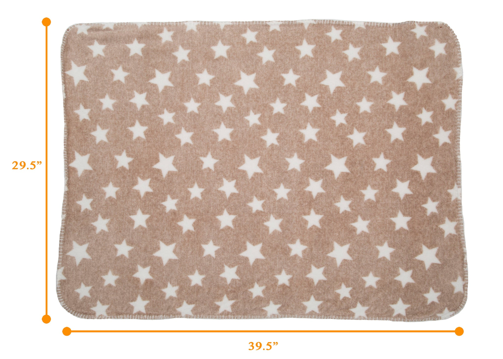 Delta Children Soft Fleece Baby Blanket for Strollers Beige Stars (4007) Measured View b4b