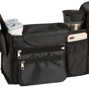Delta Children Black (001) Universal Stroller Organizer Closed Attached View a1a