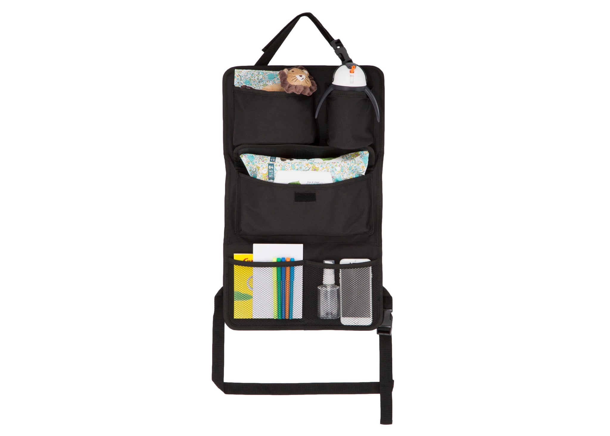 Delta Children Black (001) Backseat Car Organizer Front View with Props a2a