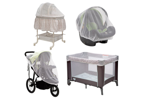 2-Pack of Universal Mosquito Nets for Strollers, Joggers, Play Yards, Pack 'n Plays, Infant Cars Seats, Infant Strollers & Bassinets | Portable Netting Protects Against Mosquitos, No-See-Ums & Other Insects, White