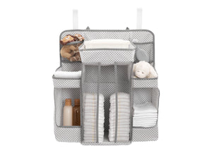 Delta Children Cool Grey (063) Universal Hanging Organizer for Changing Tables | Diaper Caddy | Nursery Storage Silo View a2a