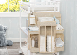 Delta Children Beige (250) Universal Hanging Organizer for Changing Tables | Diaper Caddy | Nursery Storage Lifestyle View b1b