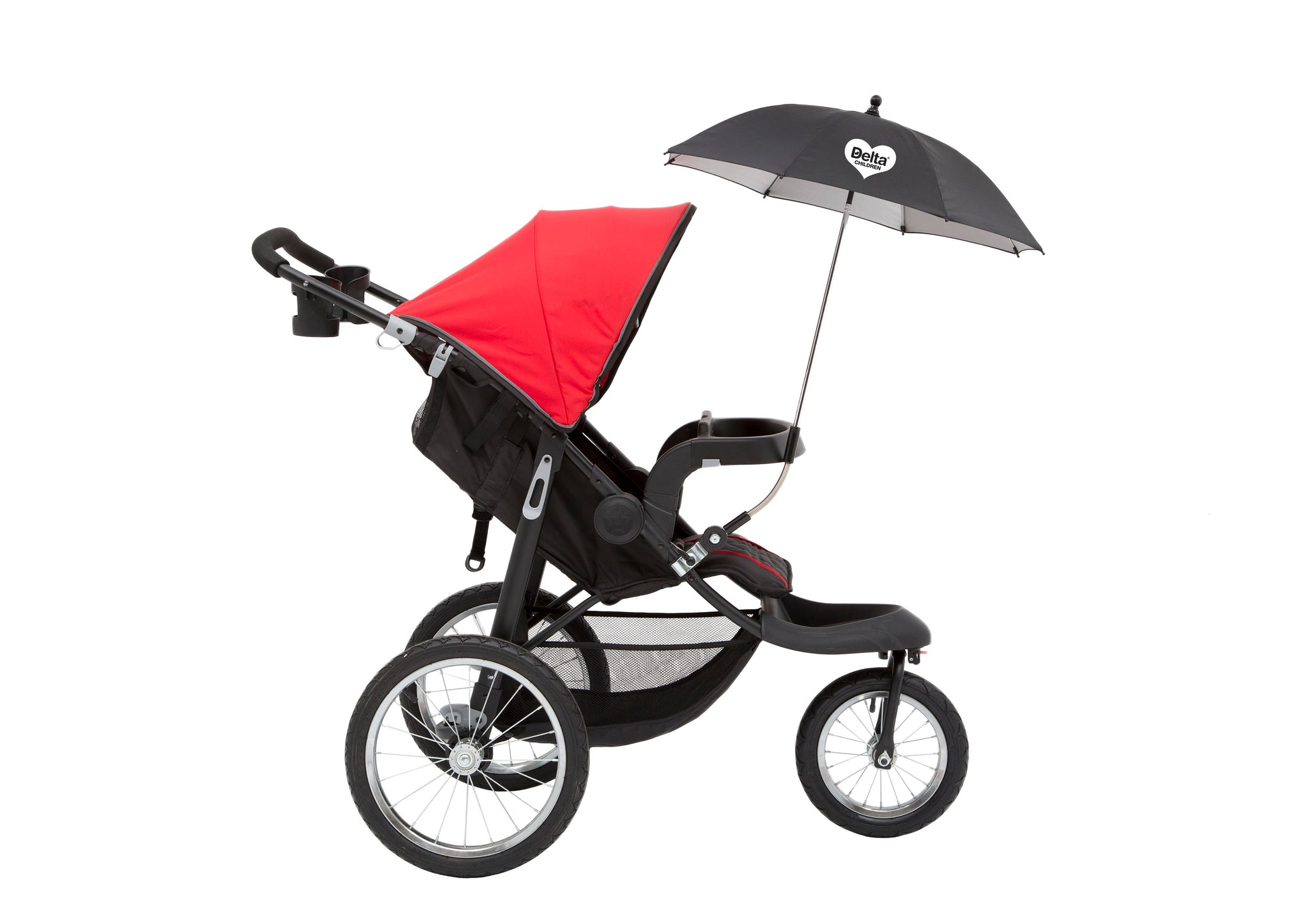 Delta Children Black (001) Clip-On Universal Stroller Umbrella with UV Protection, Black Silo Side View a4a