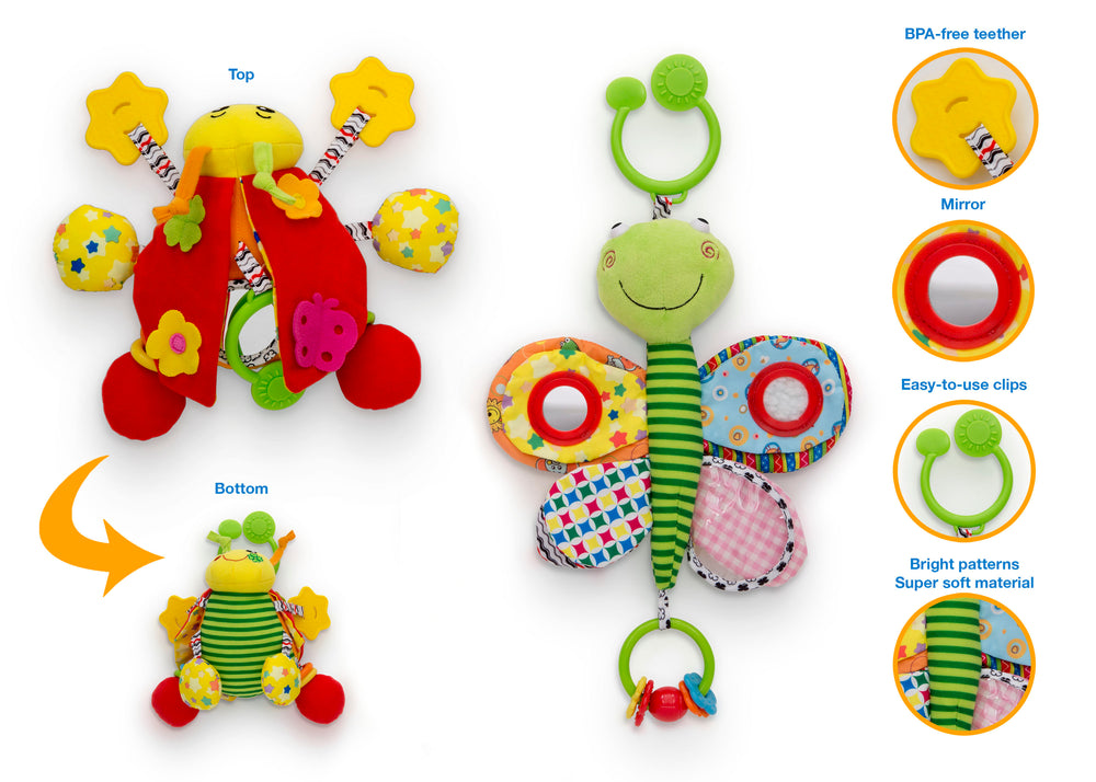 Delta Children Stroller/Car Seat Activity and Teething Toys for Babies, 2-Piece Set, Butterfly & Ladybug (999), Details View