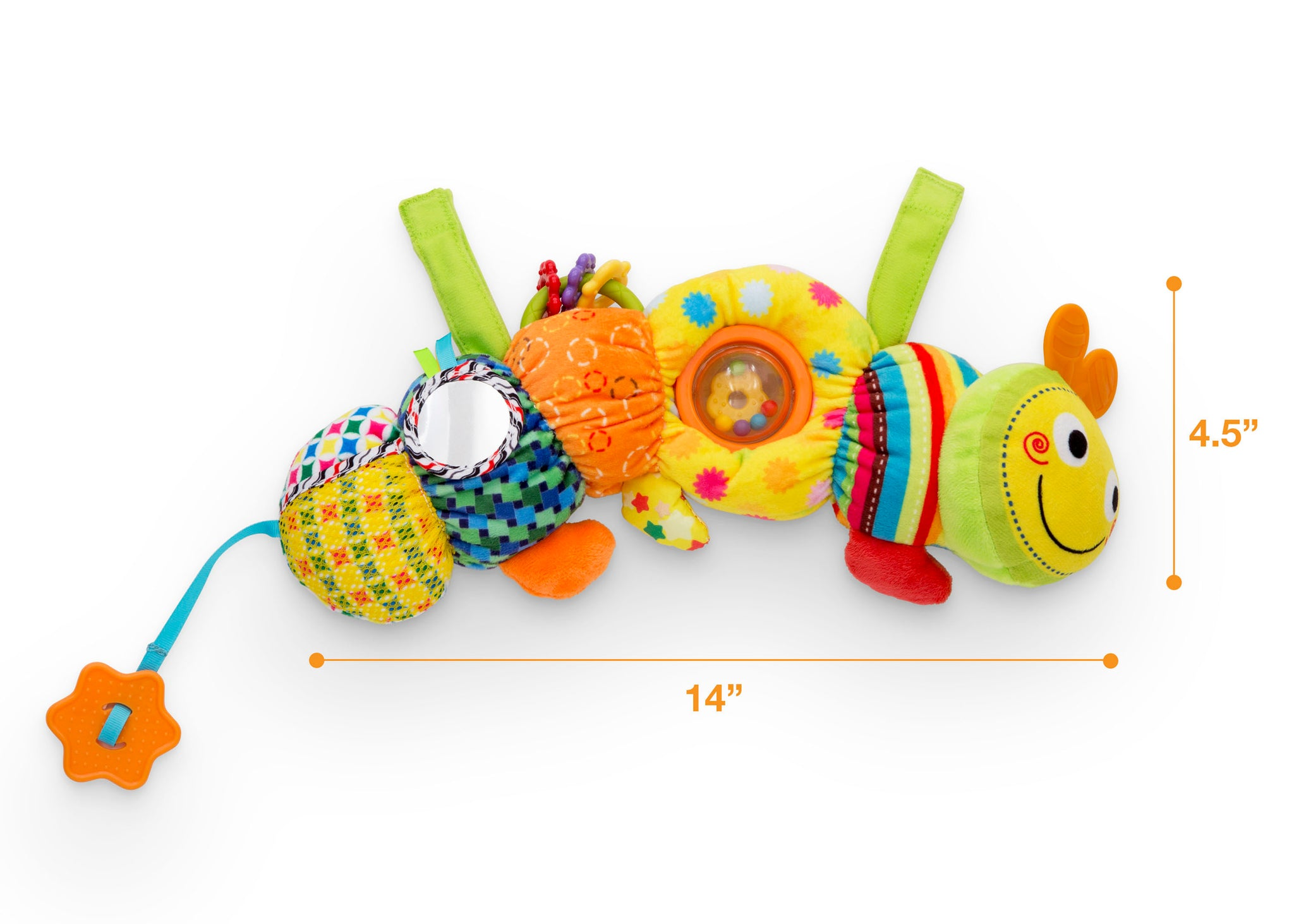 Delta Children Stroller/Car Seat Activity and Teething Toy for Babies, 1-Piece Set, Caterpillar (999), Measured View