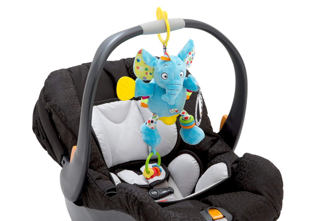 Delta Children Stroller/Car Seat Activity and Teething Toys for Babies, 3-Piece Set, Elephant & Friends (999), Car Sear Elephant View